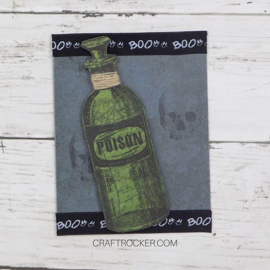 Poison Bottle Embellishment Attached to Front of Halloween Card - Craft Rocker