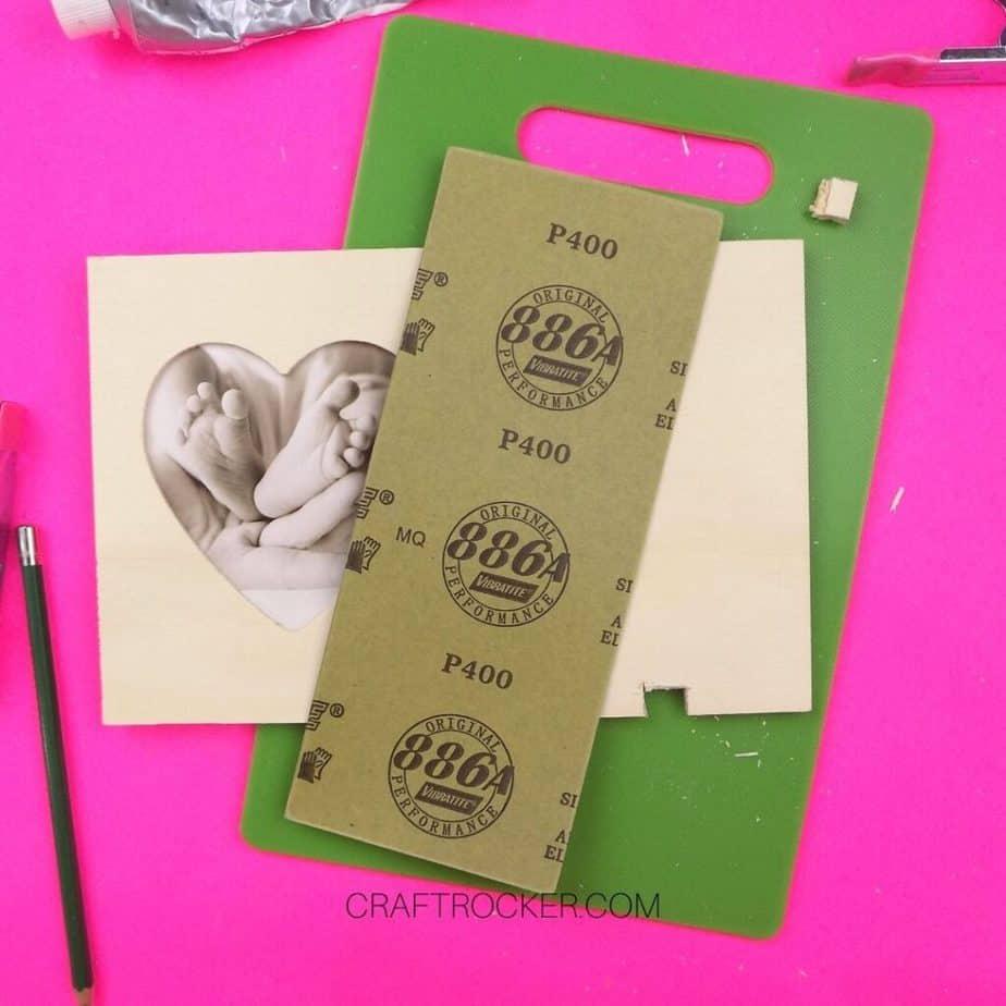Sand Paper on top of Heart Frame - Craft Rocker