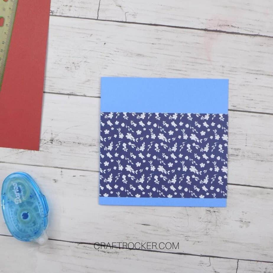 Square Card with Floral Paper Strip Attached - Craft Rocker
