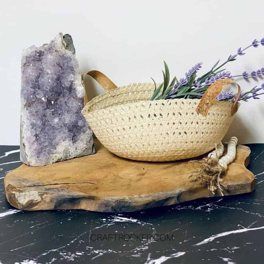 Sun Hat Basket Vignette with Flowers and Amethyst - Craft Rocker