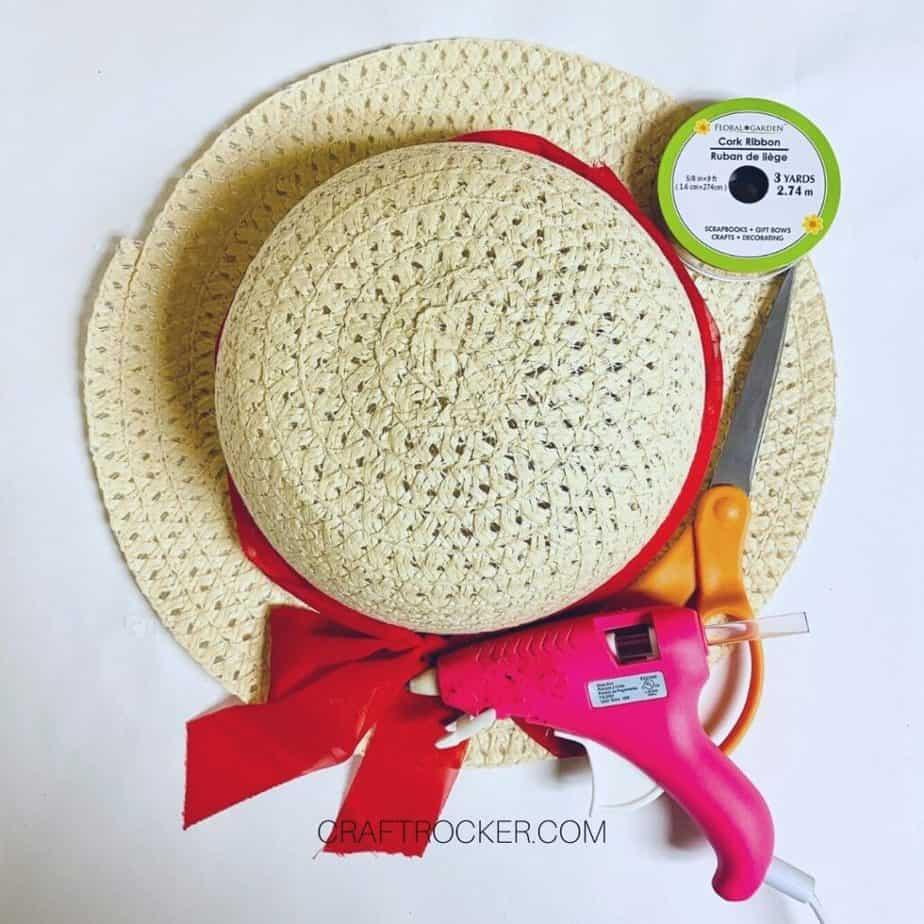 Sun Hat next to Craft Supplies and Ribbon - Craft Rocker