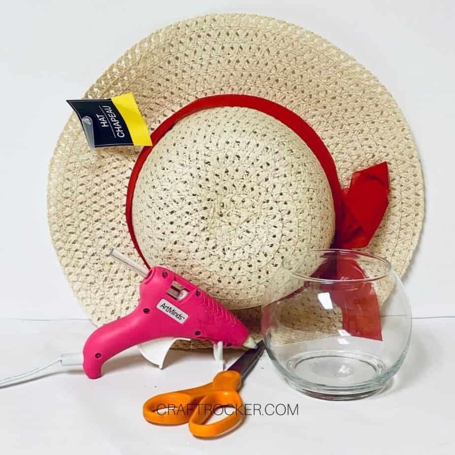 Sun Hat next to Craft Supplies and Vase - Craft Rocker