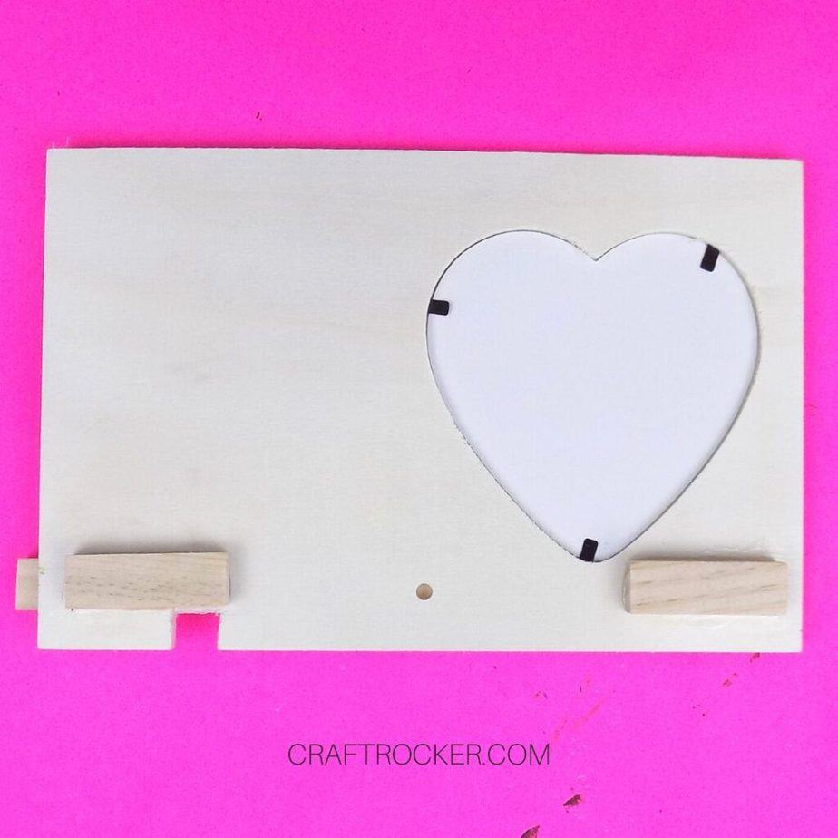 Wood Pieces Glued to Back of Heart Frame - Craft Rocker